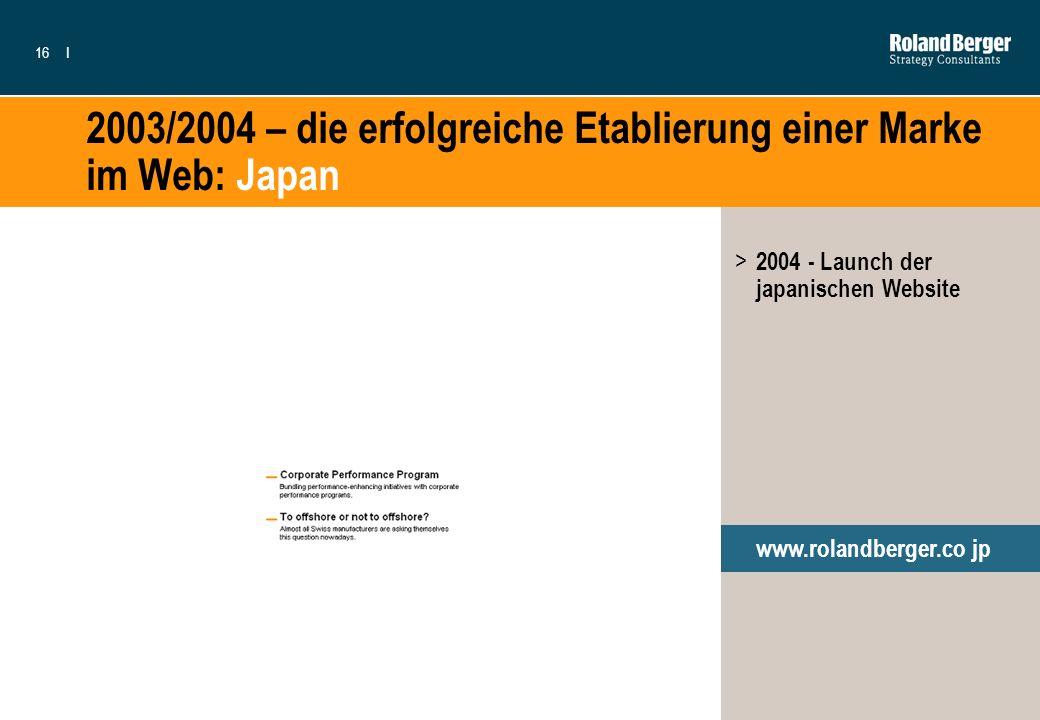 2003/2004 – die erfolgreiche Etablierung einer Marke im Web: Japan