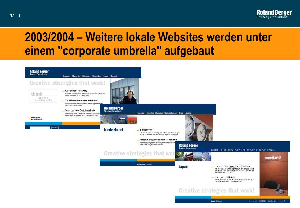 2003/2004 – Weitere lokale Websites werden unter einem corporate umbrella aufgebaut