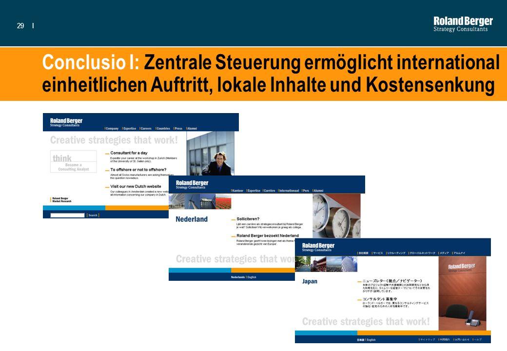 Conclusio I: Zentrale Steuerung ermöglicht international einheitlichen Auftritt, lokale Inhalte und Kostensenkung