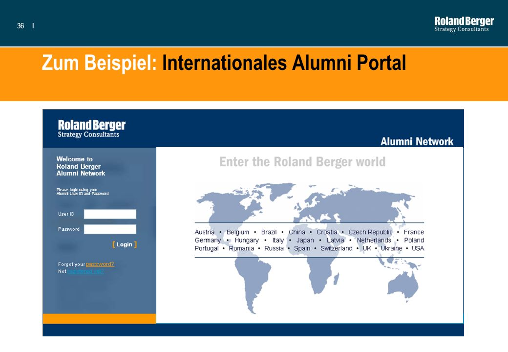 Zum Beispiel: Internationales Alumni Portal