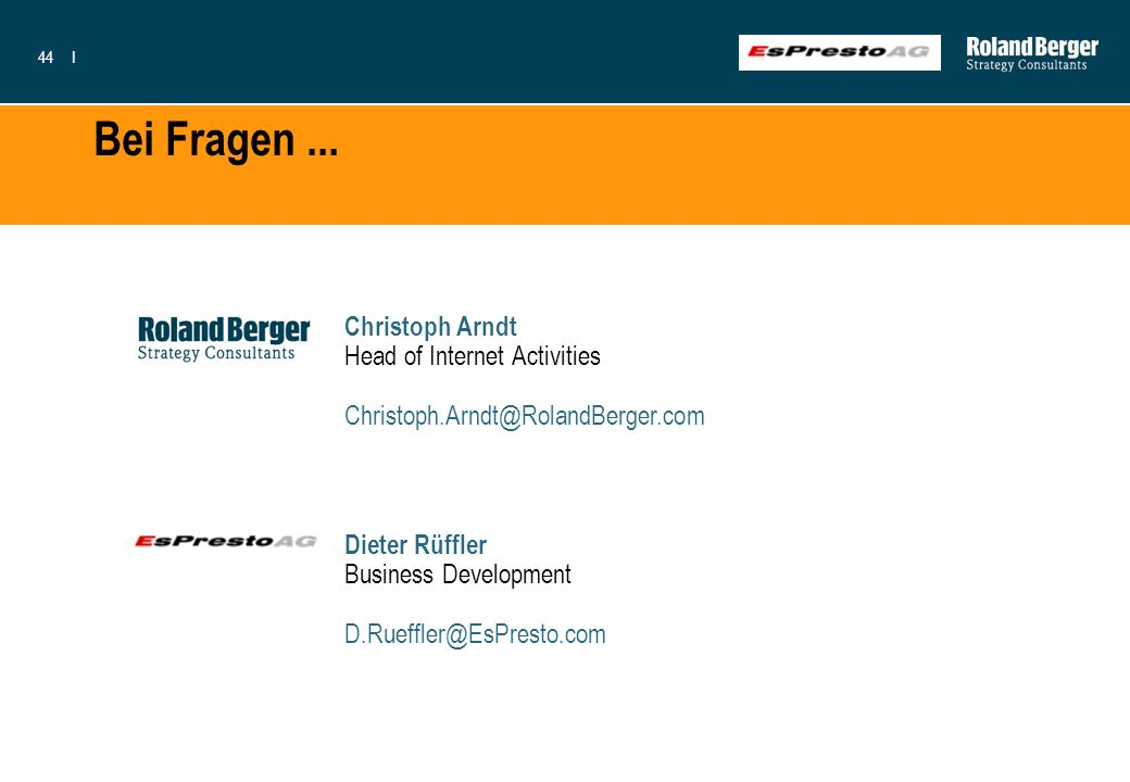 Bei Fragen ... Christoph Arndt Head of Internet Activities