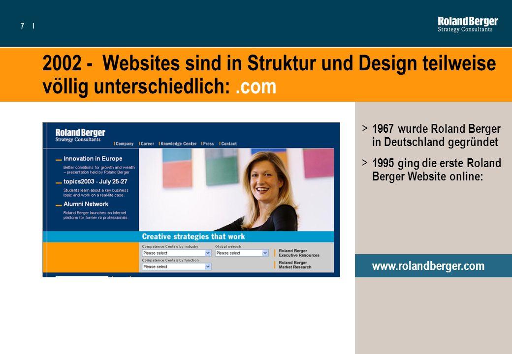 2002 - Websites sind in Struktur und Design teilweise völlig unterschiedlich: .com