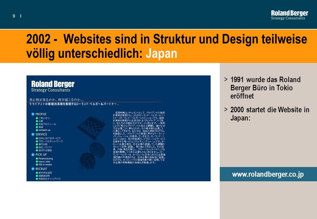 2002 - Websites sind in Struktur und Design teilweise völlig unterschiedlich: Japan