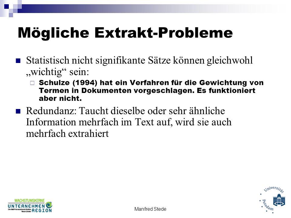 Mögliche Extrakt-Probleme