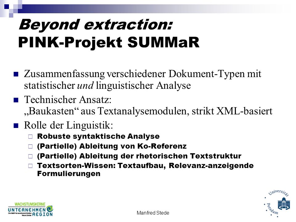 Beyond extraction: PINK-Projekt SUMMaR