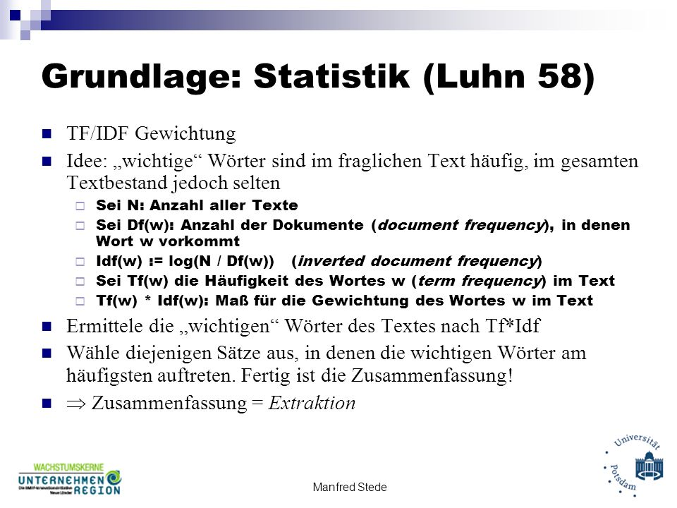Grundlage: Statistik (Luhn 58)