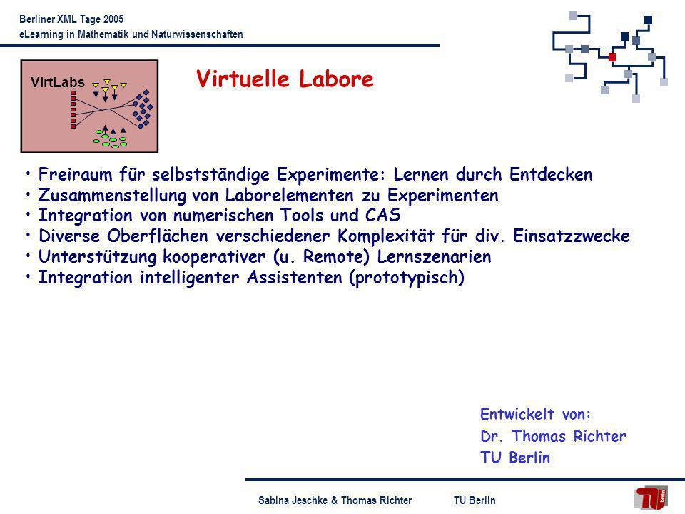 VirtLabs Virtuelle Labore. Freiraum für selbstständige Experimente: Lernen durch Entdecken. Zusammenstellung von Laborelementen zu Experimenten.