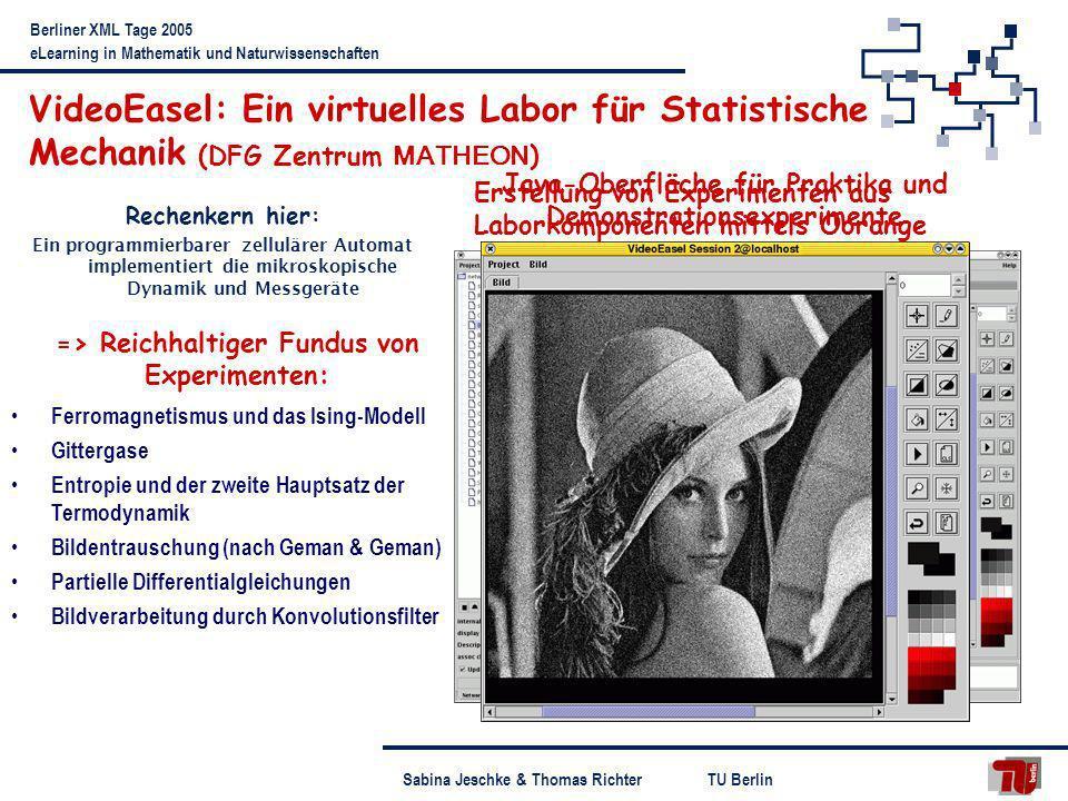 VideoEasel: Ein virtuelles Labor für Statistische Mechanik (DFG Zentrum MATHEON)