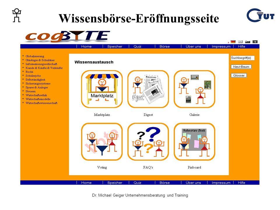 Wissensbörse-Eröffnungsseite