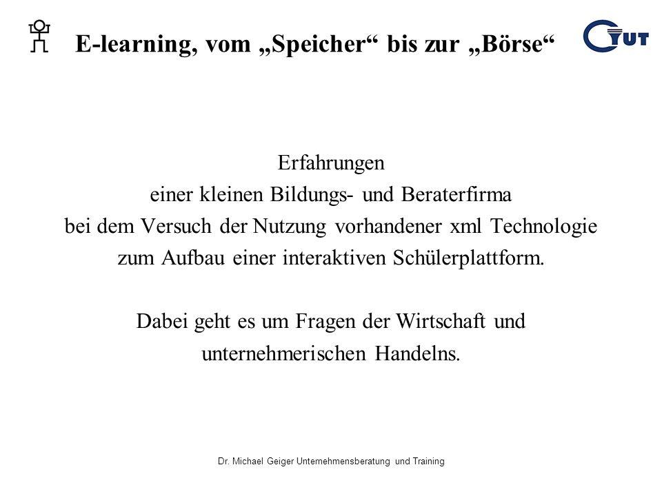 """E-learning, vom """"Speicher bis zur """"Börse"""