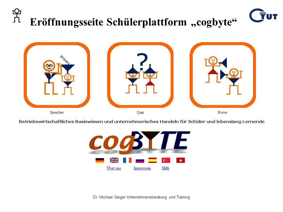 "Eröffnungsseite Schülerplattform ""cogbyte"