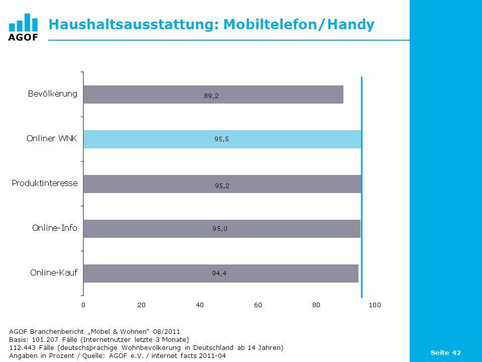 Haushaltsausstattung: Mobiltelefon/Handy