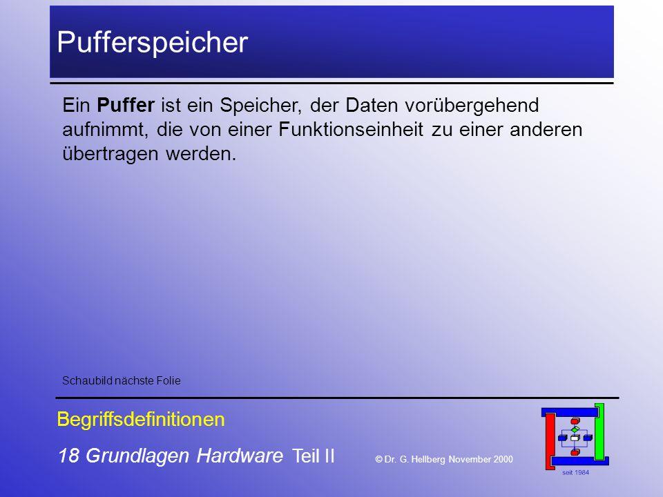 Pufferspeicher Ein Puffer ist ein Speicher, der Daten vorübergehend aufnimmt, die von einer Funktionseinheit zu einer anderen übertragen werden.