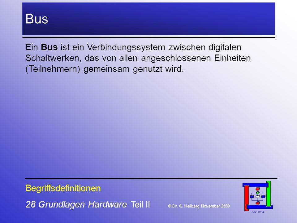 Bus Ein Bus ist ein Verbindungssystem zwischen digitalen Schaltwerken, das von allen angeschlossenen Einheiten (Teilnehmern) gemeinsam genutzt wird.