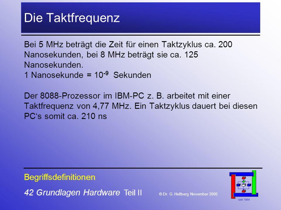 Die Taktfrequenz Bei 5 MHz beträgt die Zeit für einen Taktzyklus ca. 200. Nanosekunden, bei 8 MHz beträgt sie ca. 125.