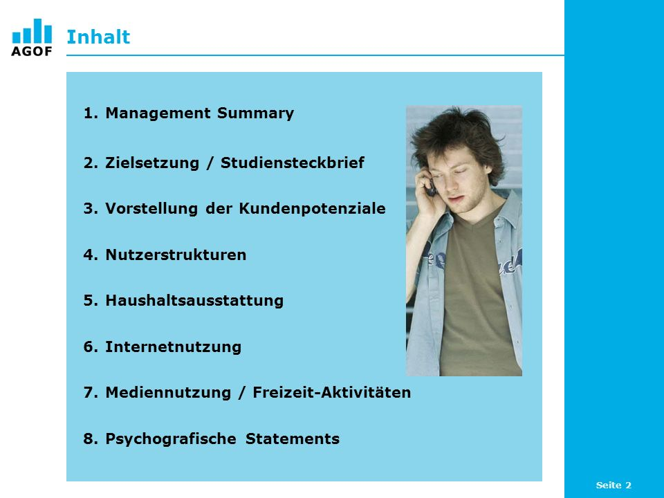 Inhalt Management Summary Zielsetzung / Studiensteckbrief