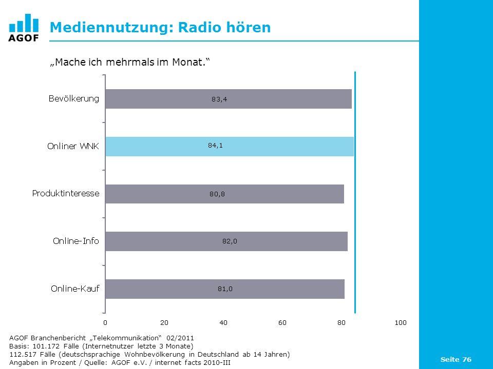 Mediennutzung: Radio hören