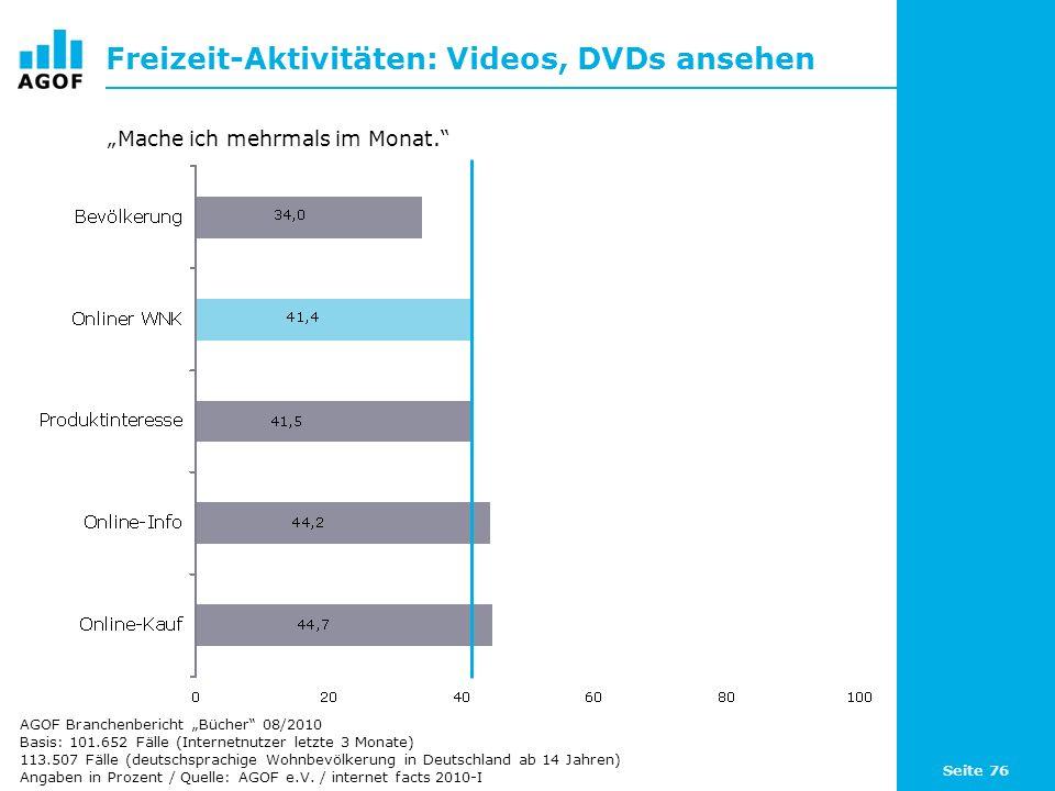 Freizeit-Aktivitäten: Videos, DVDs ansehen