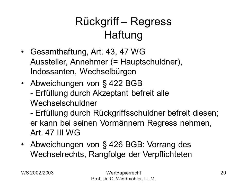 Rückgriff – Regress Haftung