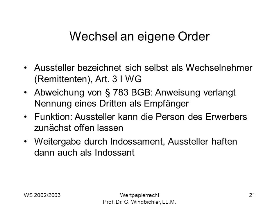 Wechsel an eigene Order