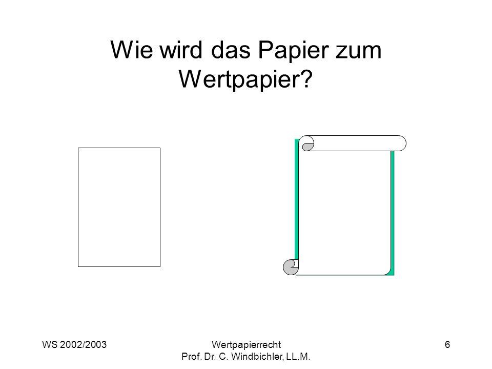 Wie wird das Papier zum Wertpapier