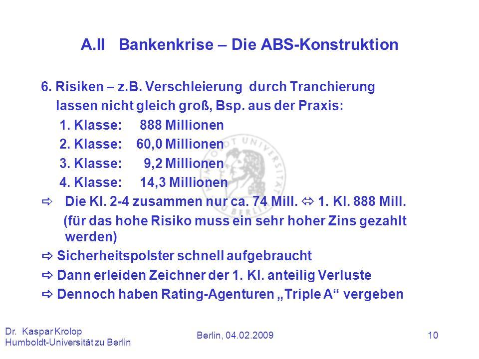 A.II Bankenkrise – Die ABS-Konstruktion