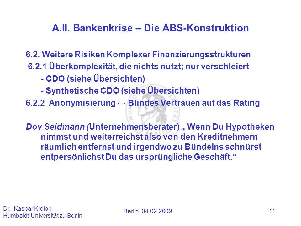 A.II. Bankenkrise – Die ABS-Konstruktion