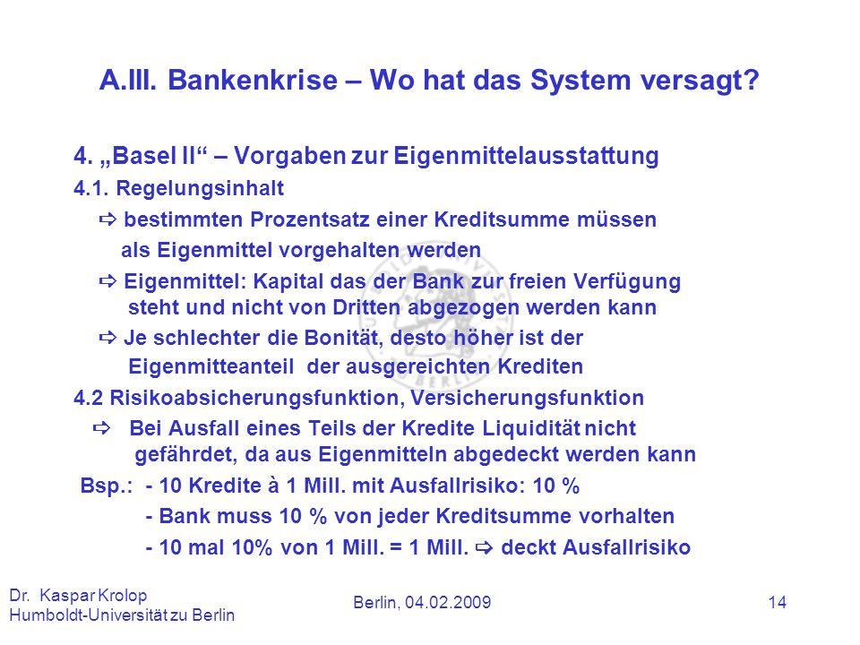 A.III. Bankenkrise – Wo hat das System versagt