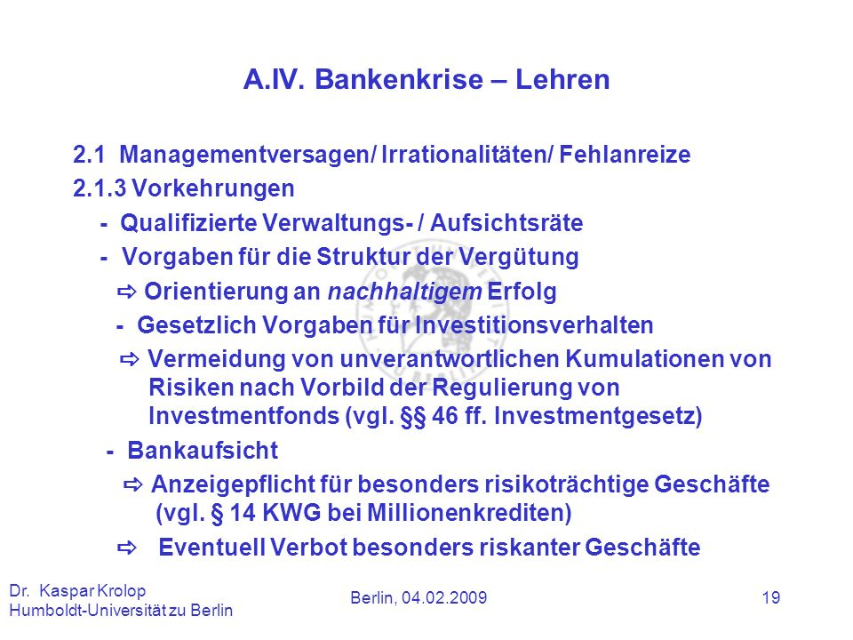 A.IV. Bankenkrise – Lehren