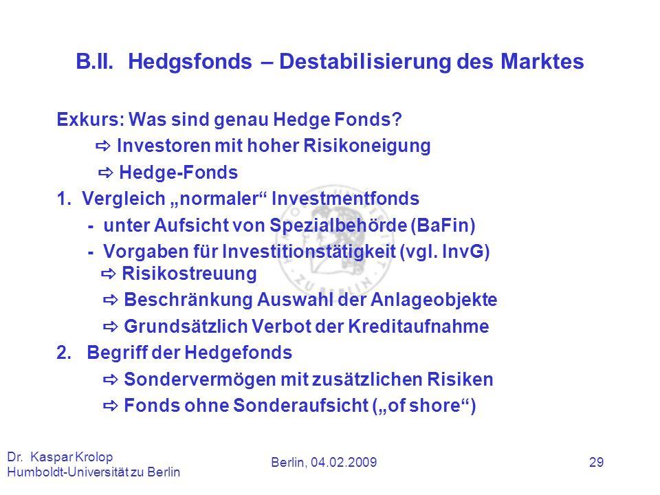 B.II. Hedgsfonds – Destabilisierung des Marktes