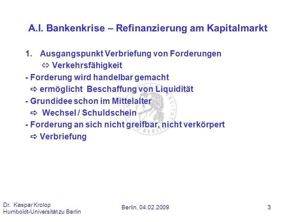 A.I. Bankenkrise – Refinanzierung am Kapitalmarkt