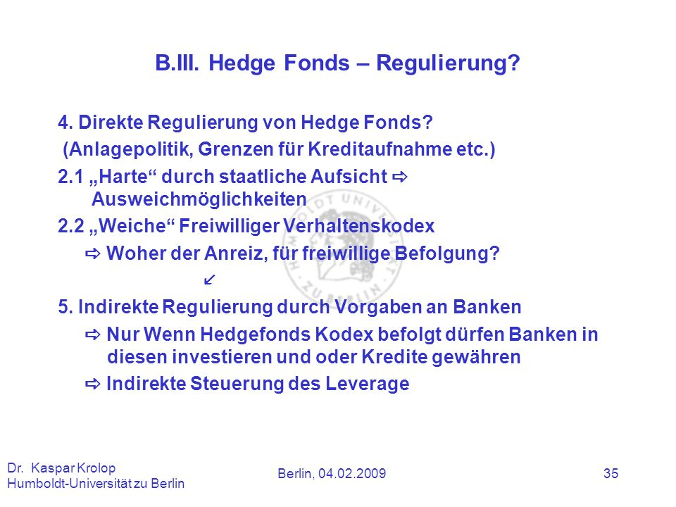 B.III. Hedge Fonds – Regulierung