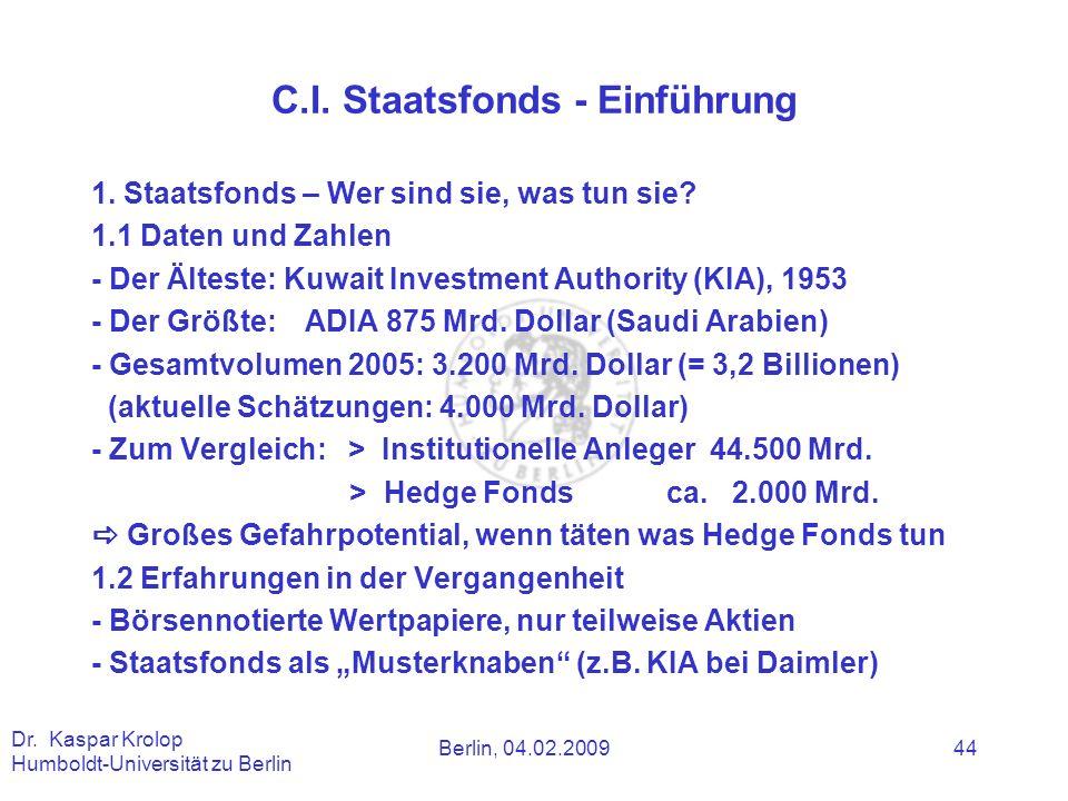 C.I. Staatsfonds - Einführung