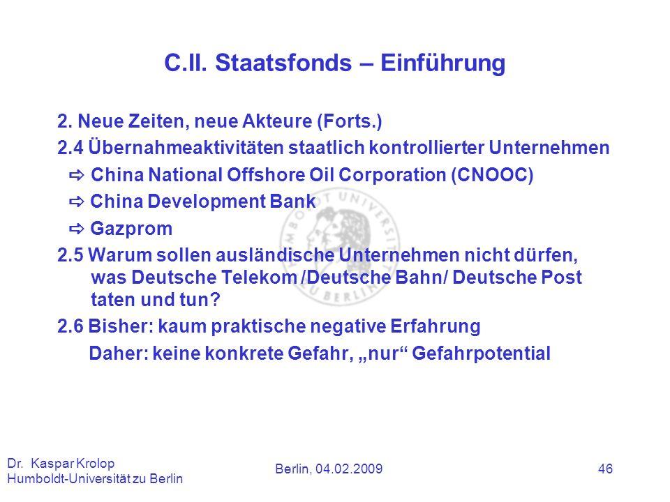 C.II. Staatsfonds – Einführung