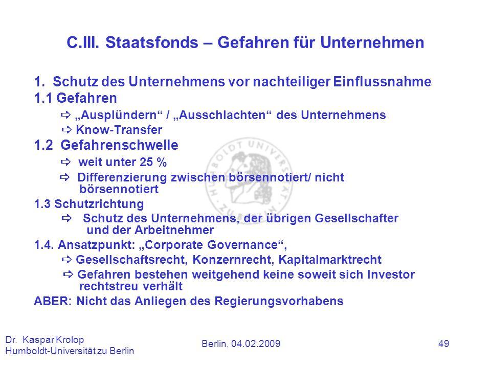 C.III. Staatsfonds – Gefahren für Unternehmen