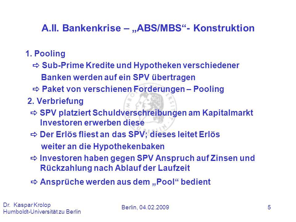 "A.II. Bankenkrise – ""ABS/MBS - Konstruktion"