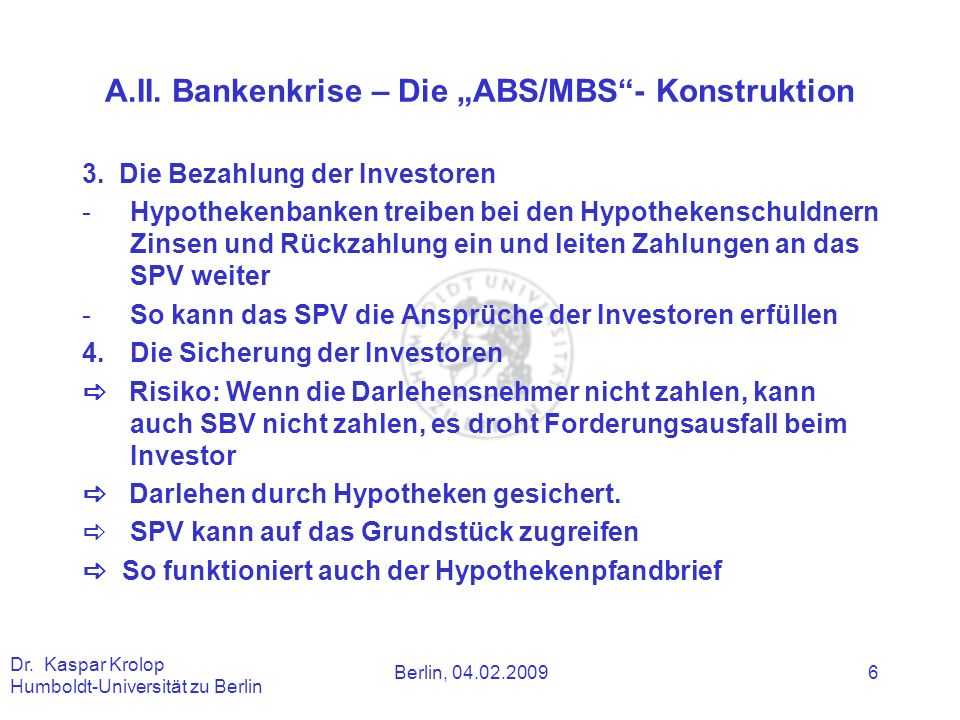 """A.II. Bankenkrise – Die """"ABS/MBS - Konstruktion"""