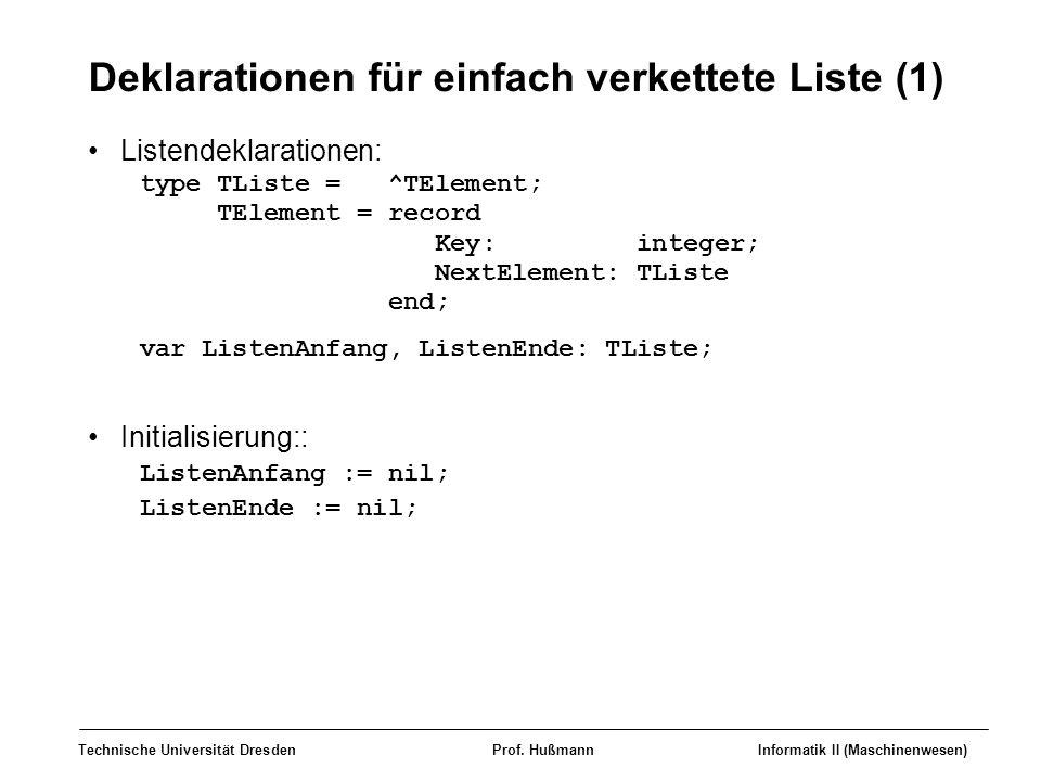 Deklarationen für einfach verkettete Liste (1)