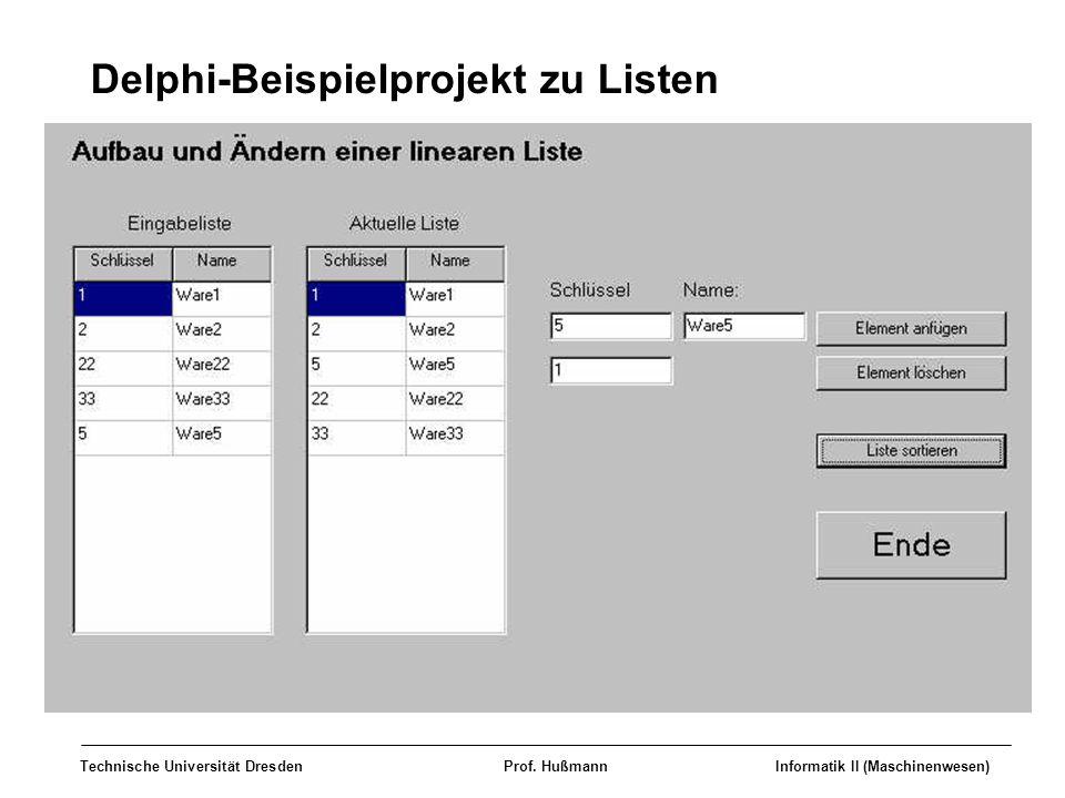 Delphi-Beispielprojekt zu Listen