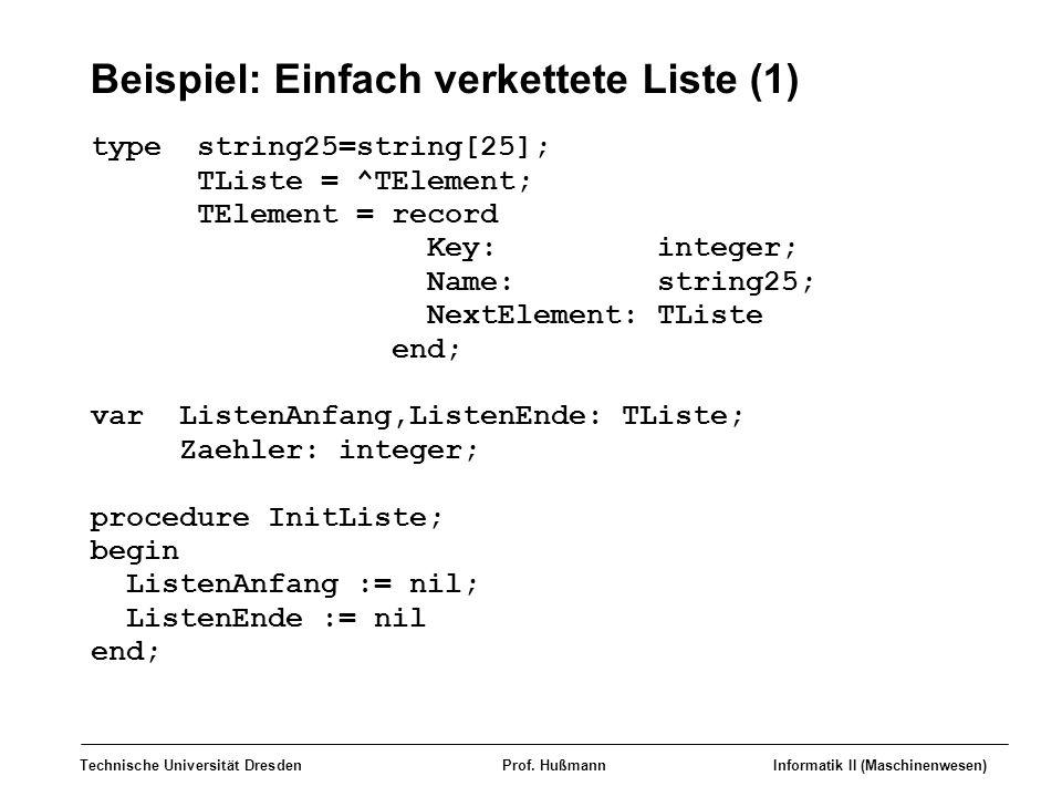 Beispiel: Einfach verkettete Liste (1)