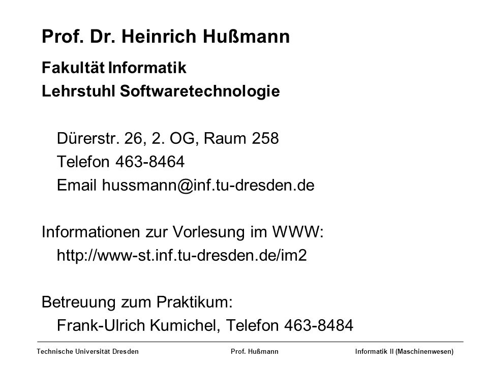 Prof. Dr. Heinrich Hußmann