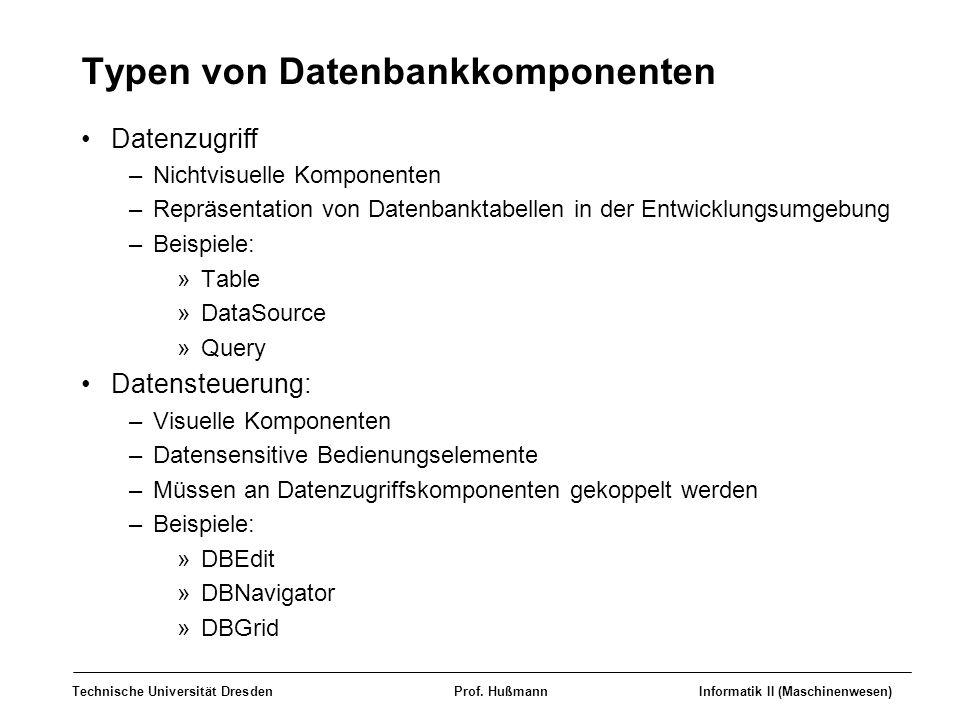 Typen von Datenbankkomponenten