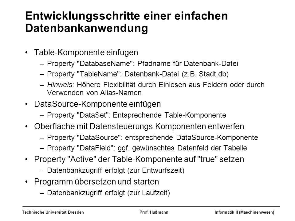 Entwicklungsschritte einer einfachen Datenbankanwendung