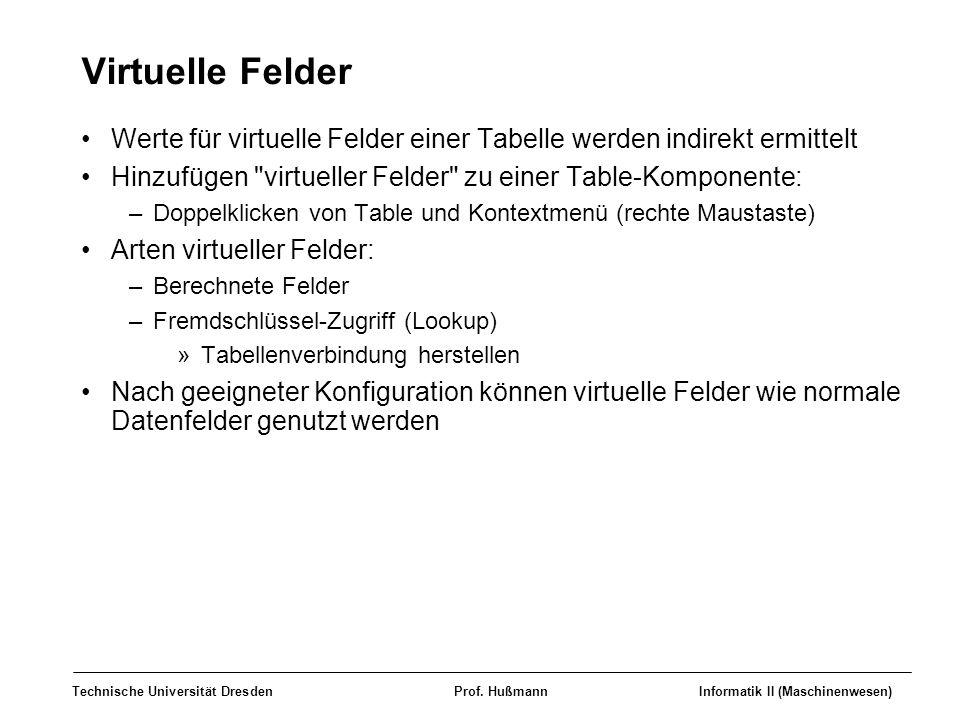 Virtuelle Felder Werte für virtuelle Felder einer Tabelle werden indirekt ermittelt. Hinzufügen virtueller Felder zu einer Table-Komponente:
