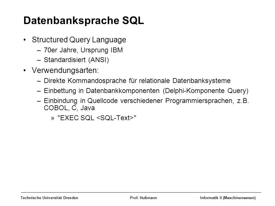 Datenbanksprache SQL Structured Query Language Verwendungsarten: