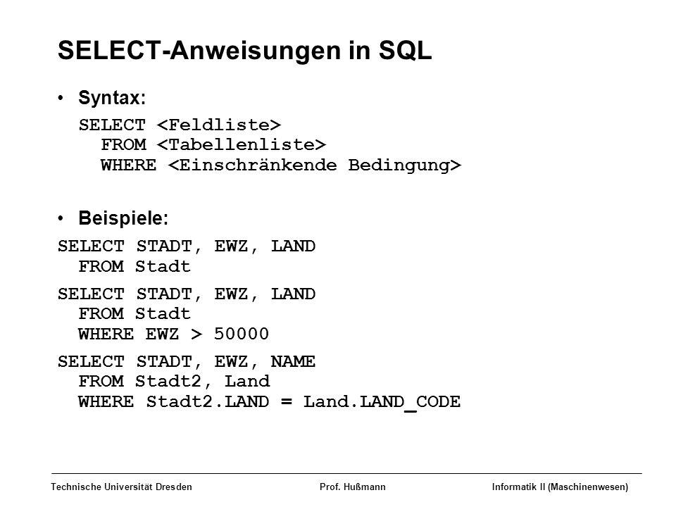 SELECT-Anweisungen in SQL