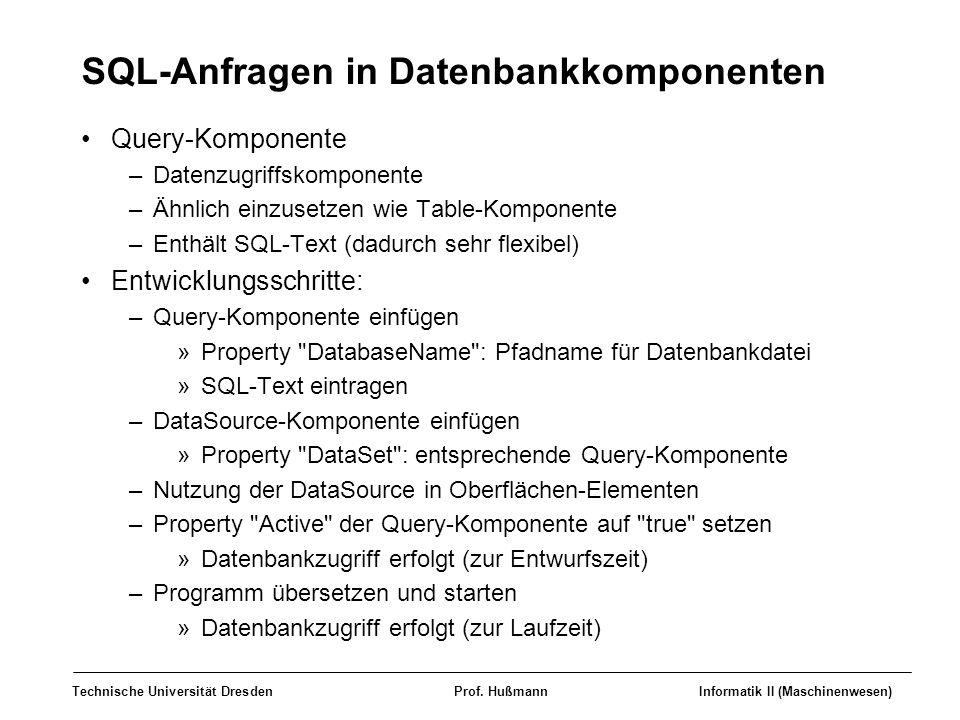 SQL-Anfragen in Datenbankkomponenten