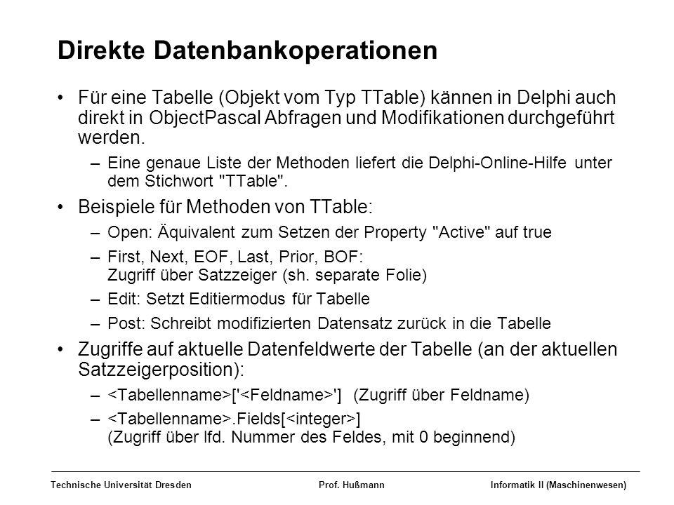 Direkte Datenbankoperationen