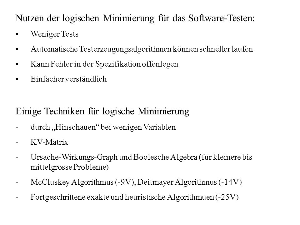Nutzen der logischen Minimierung für das Software-Testen: