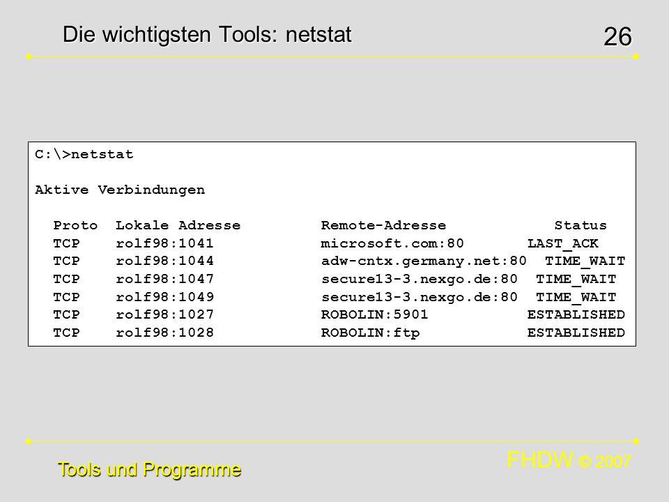 Die wichtigsten Tools: netstat